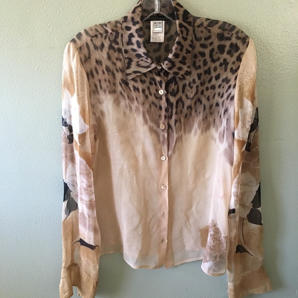 0143289a426aa class roberto cavalli animal print sheer blouse. M 5b6a71a30cb5aae69fe9fce4